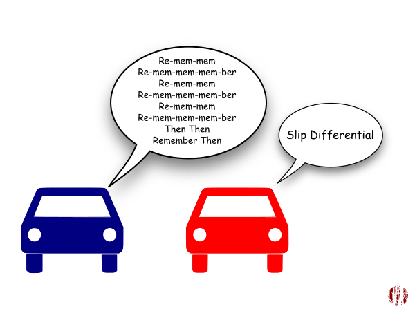 """One car-toon car sings to the other, """"Re-mem-mem, Re-mem-mem-mem-ber Re-mem-mem, Re-mem-mem-mem-ber, Re-mem-mem, Re-mem-mem-mem-ber, Then Then, Remember Then"""" to which the other replies, """"Slip differential"""". Which will make sense if you've been following along."""