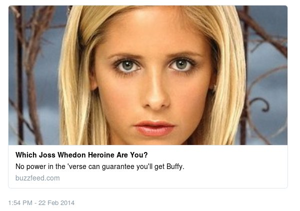 Screen capture of Joss Whedon on Twitter saying he'd taken a which Joss Whedon heroine are you? quiz and been judged to be most similar to Inara from Firely
