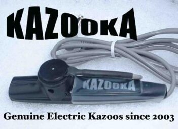 Advert for a Kazooka electric kazoo with mention of them being made since 2003.