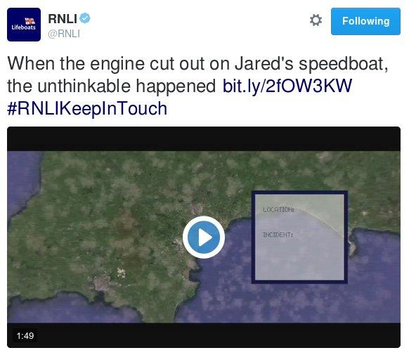 Screen capture of a Tweet by the Royal National Lifeboat Institute trailing a film about a rescue including the phrase, 'and then the unthinkable happened'