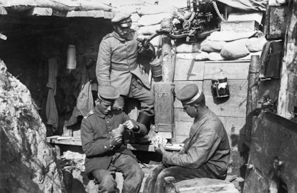 German Troops In The Trenches Playing Cards Near Ypres