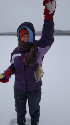 Ice fishing success.