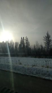 A rising sun on a foggy, Minnesota morning.