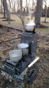 Boiling down sap.