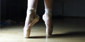 feet dancing in ballet shoes