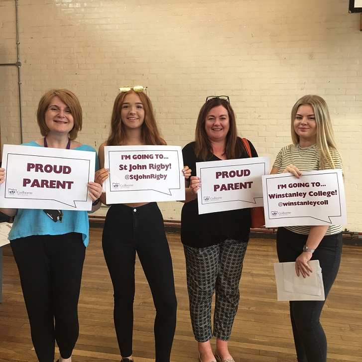 Mums and daughters Jo and Milly Walters and Dawn and Maddie Hart celebrate GCSE success together at Golborne High School