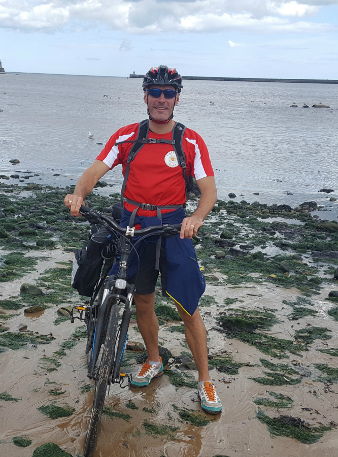 Mr Hunt, headteacher at Golborne Community School, who cycled 158 miles taking on a charity coast to coast challenge during the school holidays.