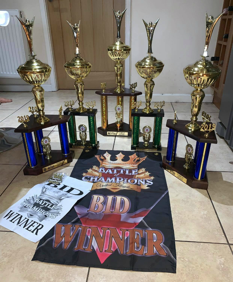The trophies won by Gemstone Cheerleading in the 2018-19 season