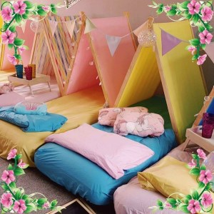 Secret Sleepover wigwams ready for a Unicorn and Mermaid themed party