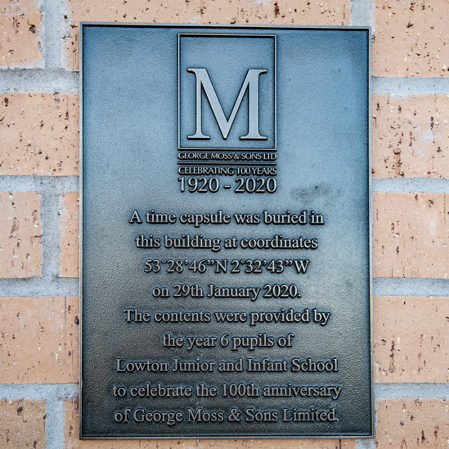 A plaque marking 100 years of the Moss Industrial Estate in Lowton