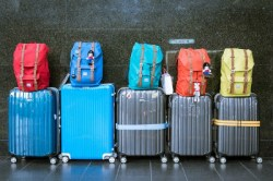Luggage in suitcases
