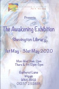 Poster advertises Golborne and Lowton Art Club exhibition, The Awakening