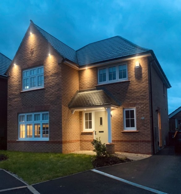House with exterior lighting