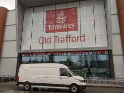 CS Couriers transit van outside the Emirates Old Trafford