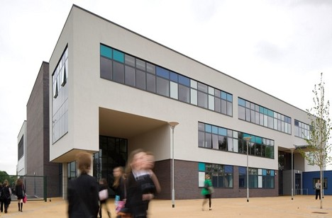 A newly built school building at Culcheth High, see from outside