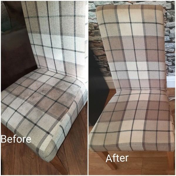 Before and after shows an upholstered dining chair looking like new after a clean by Brightway Carpet Cleaning