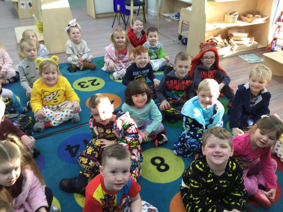 Children at Golborne St Thomas's School wore their pyjamas to raise money for Children in Need
