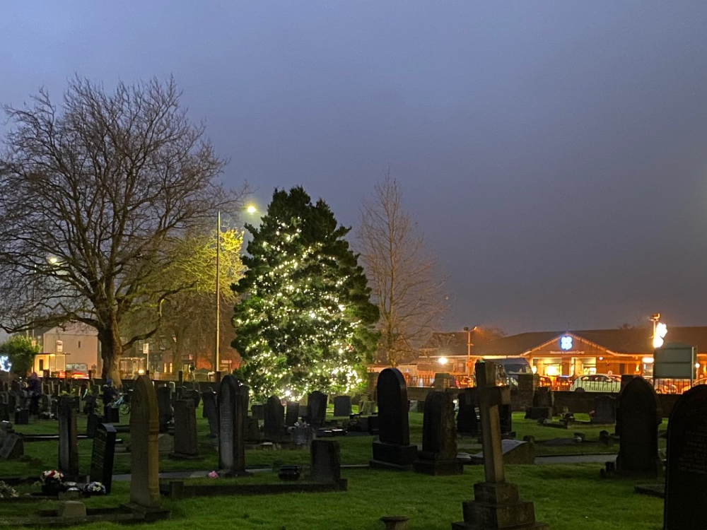 Christmas tree in St Luke's Churchyard in Lowton, November 2020