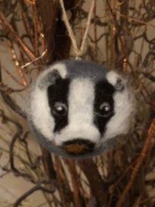 Felt badger decoration made by The Crafty Flower Girl
