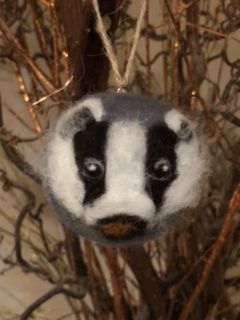Felt badger decoration made by The Crafty Flower Girl