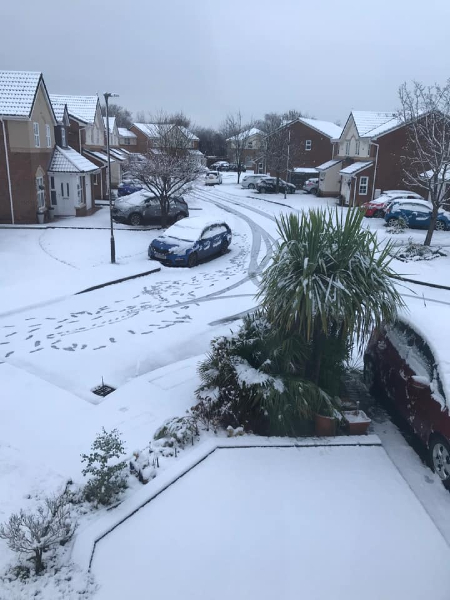 Chandler Way, Lowton, in the snow, taken by Laura Woodley