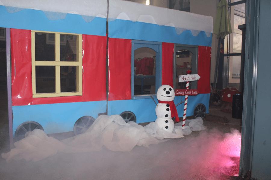 A Polar Express train and snowman at Golborne St Thomas' School