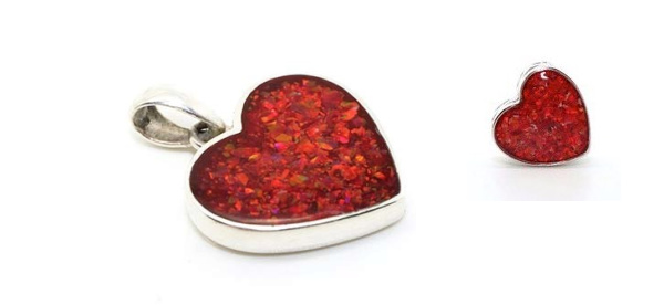 Forget Me Not Ashes Jewellery red heart charm and pendant