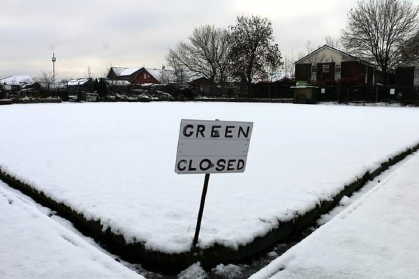 Lee Suter's picture shows the bowling green at Golborne Parkside covered in snow, January 2021