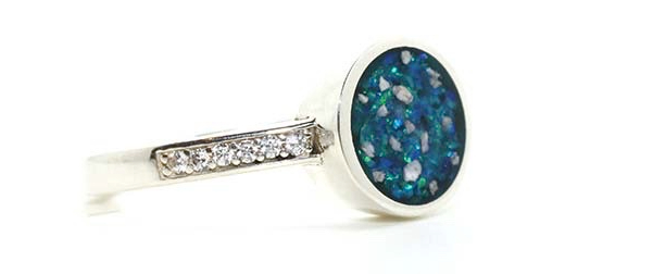 Sterling silver ring with turquoise crushed opals and diamantesy, containing loved ones ashes with crushed opal,
