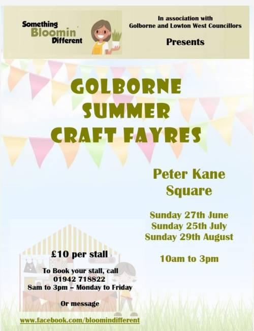 Golborne Summer Craft Fayres flyer