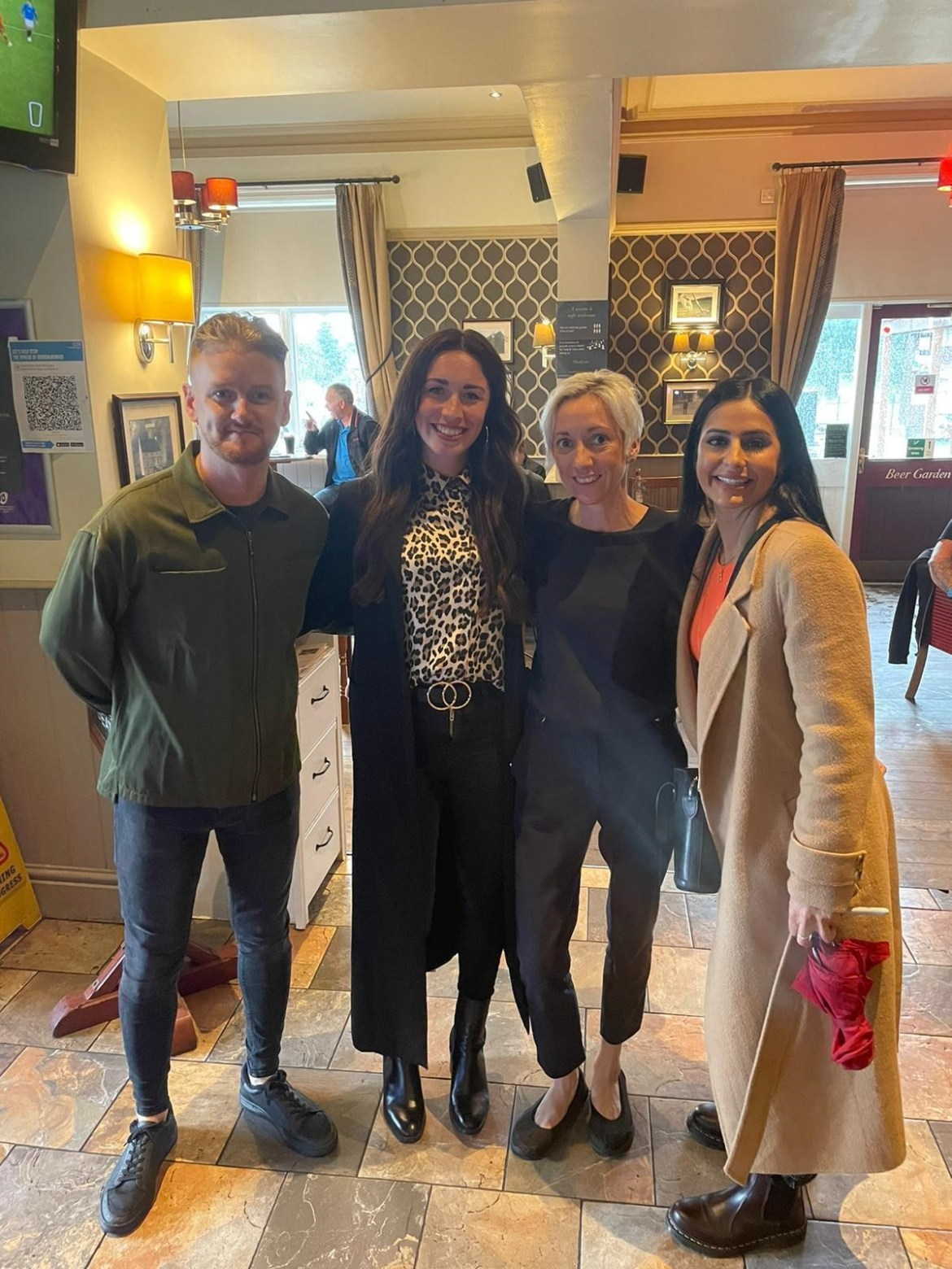 Coronation Street stars with Laura Cotter, Manager of the Red Lion Pub in Lowton