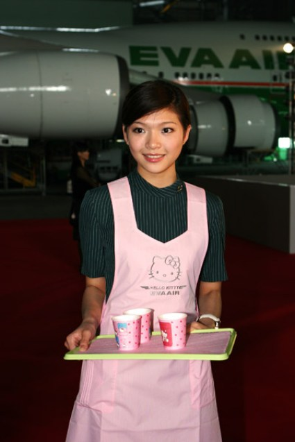hello kitty airlines food waitress plane japanese 2