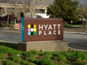 Hyatt Place Hotel sign Fremont, California