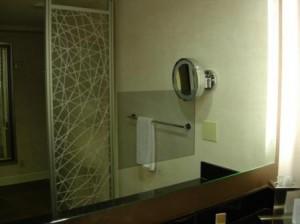 Hyatt Regency San Francisco bathroom TV in mirror