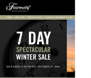 Fairmont Hotels Winter Sale advertisement