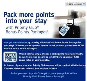Priority Club Bonus Points advertisement