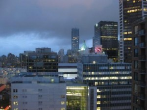 Vancouver Westin Grand western view at dusk