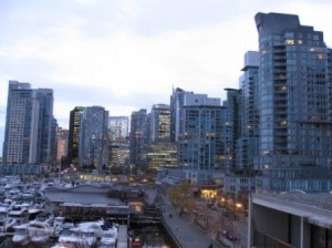 Vancouver Westin Bayshore Skyline View at Dusk