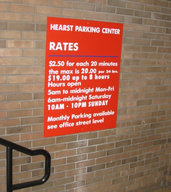Hearst Parking Center $20 rate at Stevenson and Third Street