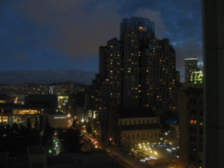 St. Regis San Francisco view at night of Marriott Hotel