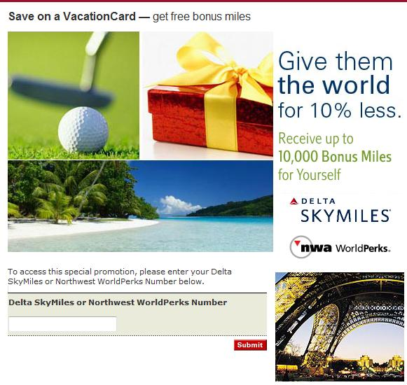 Delta/Northwest Promotion for Marriott Rewards Vacation Card