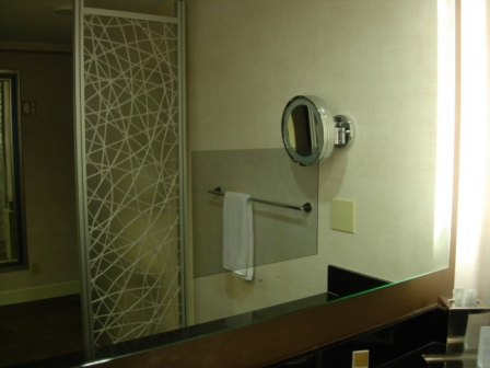 Hyatt Regency built-in bathroom mirror TV (not turned on)