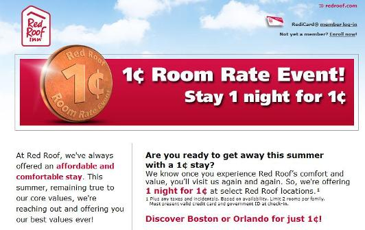 Red Roof Inn One Cent Event