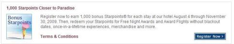 SPG 1,000 bonus points per stay promotion