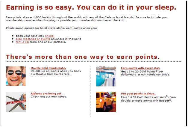 Goldpoints Plus Ways to earn points option with hotel stays earning link