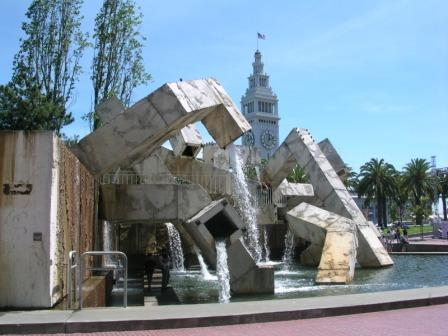 San Francisco, Justin Herman Plaza at the Embarcadero and Ferry Building in background