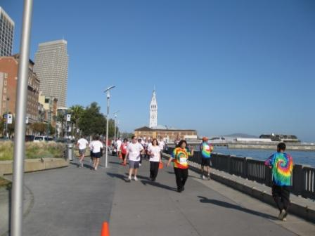 San Francisco 2009 Walk for Hope participants on Embarcadero waterfront path