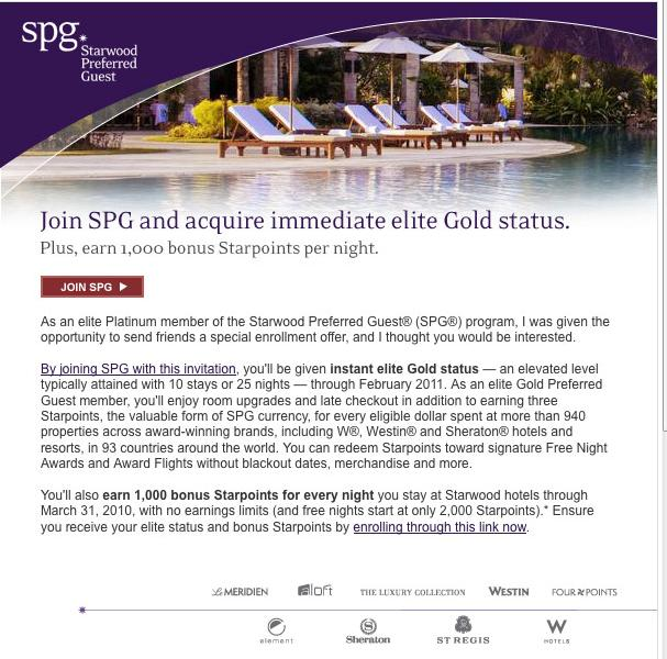 SPG Email for new SPG member registration with instant Gold elite