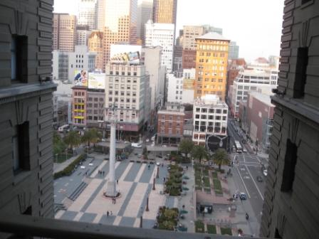 View of Union Square from 10th floor St. Francis historic building junior suite