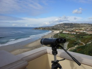 Powerful lens for viewing Monarch Beach from Rtiz-Carlton Laguna Niguel, California